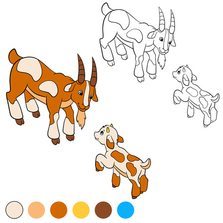baby goat: Coloring page. Color me: goat. Father goat with his little cute baby goat.