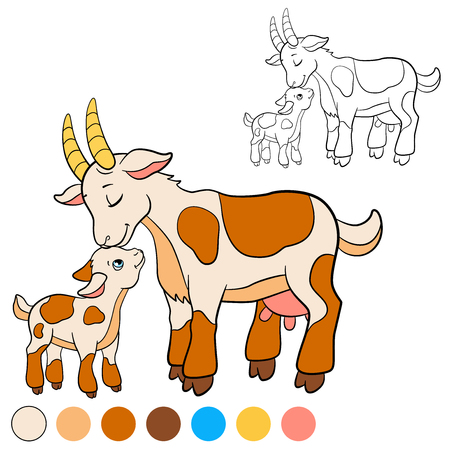 baby goat: Coloring page. Color me: goat. Mother goat with her little cute baby goat.