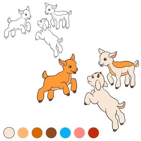 Dibujo para colorear. Color me: cabra. Tres pequeñas cabras de bebé lindo jugar y sonreír. Ilustración de vector