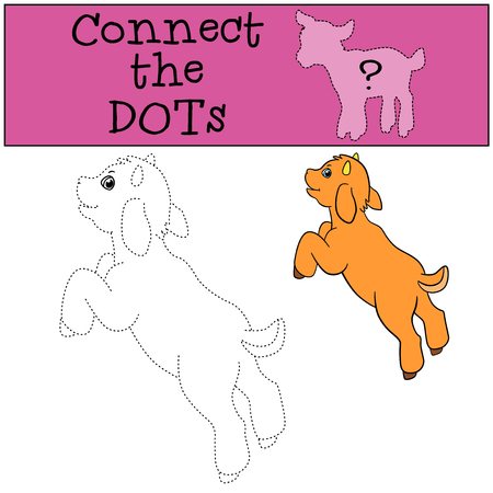billy: Educational games for kids: Connect the dots. Little cute baby goat jumps and smiles.