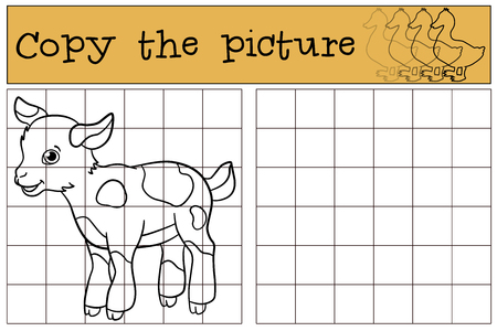 billy: Children games: Copy the picture. Little cute baby goat stands and smiles.