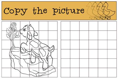 Juegos infantiles: Copiar la imagen. Pequeña cabra linda del bebé se coloca en la roca y mira la flor. Ilustración de vector