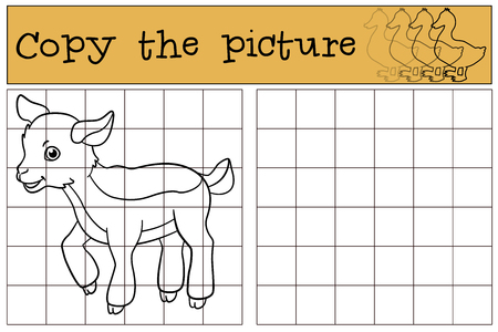 baby goat: Children games: Copy the picture. Little cute baby goat stands and smiles.