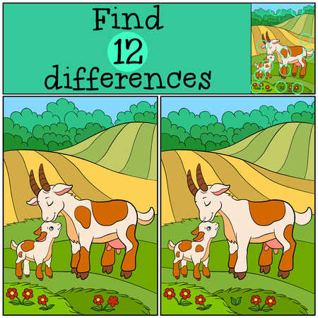 Juegos infantiles: Encuentra las diferencias. cabra de la madre con su pequeña cabra linda del bebé en el campo.