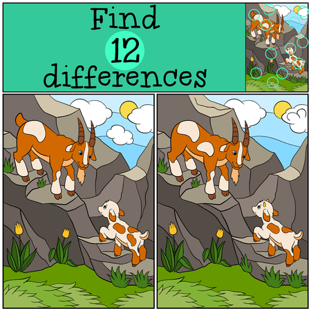 spot the difference: Children games: Find differences. Father goat with his little cute baby goat on the rocks.