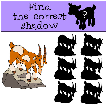 billy: Children games: Find the correct shadow. Cute goat stands on the rock and smiles.