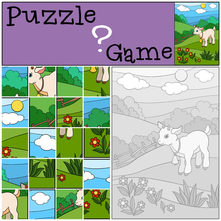 baby goat: Education games for kids. Puzzle. Little cute baby goat stands on the field and smiles. Illustration