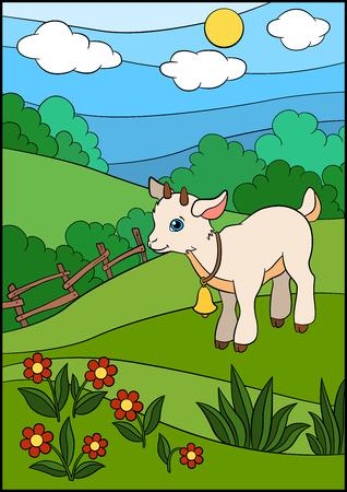 Animales de granja de dibujos animados para los niños. Pequeña cabra linda del bebé se coloca en el campo con la campana en el cuello y sonrisas. Ilustración de vector