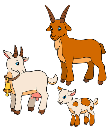 billy: Cartoon farm animals for kids. Goat family: father, mother and baby.