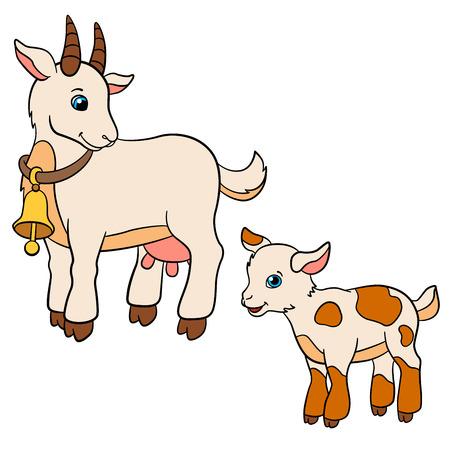 Animales de granja de dibujos animados para los niños. cabra madre mira a su bebé de cabra y sonríe.
