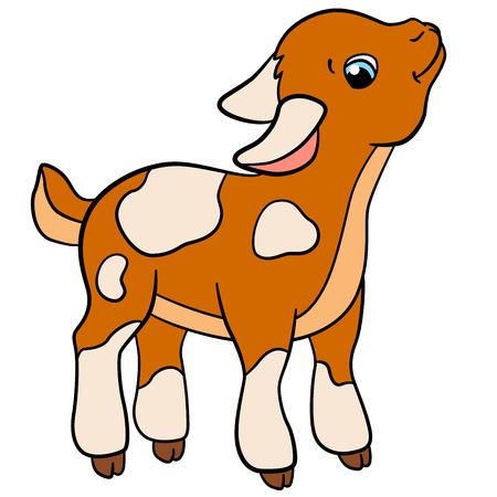 Animales de granja de dibujos animados para los niños. Pequeños lindo manchado gradas de cabrito y sonrisas. Ilustración de vector