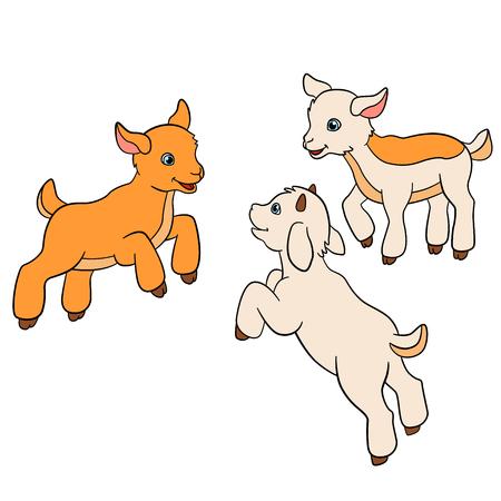 Animales de granja de dibujos animados para los niños. Tres cabras del bebé jugar y sonreír. Ilustración de vector
