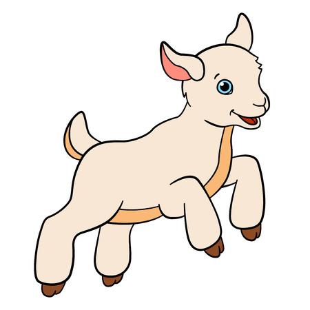 Animales de granja de dibujos animados para los niños. Poco saltos y sonrisas de cabrito lindo.