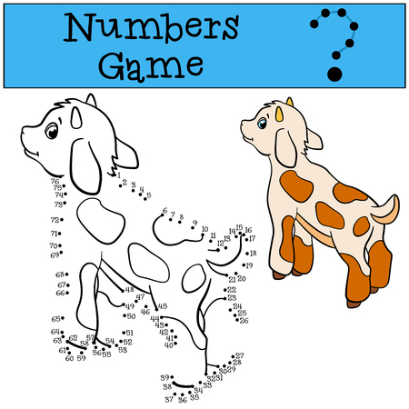 baby goat: Educational games for kids: Numbers game. Little cute baby goat stands and smiles.