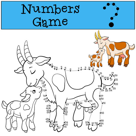 baby goat: Educational games for kids: Numbers game with contour. Mother goat with her little cute baby goat.