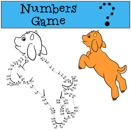 billy: Educational games for kids: Numbers game with contour. Little cute baby goat jumps and smiles.