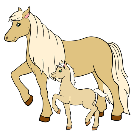 foal: Cartoon farm animals. Mother horse with her little cute foal. Illustration