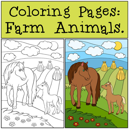 foal: Coloring Pages: Farm Animals. Mother horse with her little cute foal.