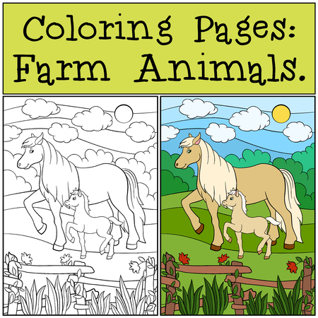 foal: Coloring Pages: Farm Animals. Mother horse walks with her little cute foal.