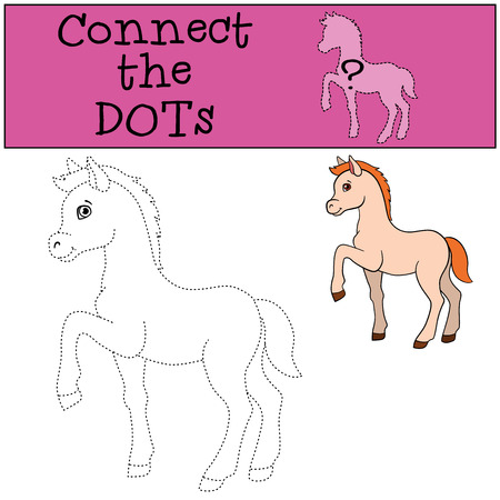 foal: Educational games for kids: Connect the dots. Little cute foal smiles. Illustration