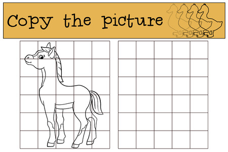 foal: Children games: Copy the picture. Little cute foal smiles.