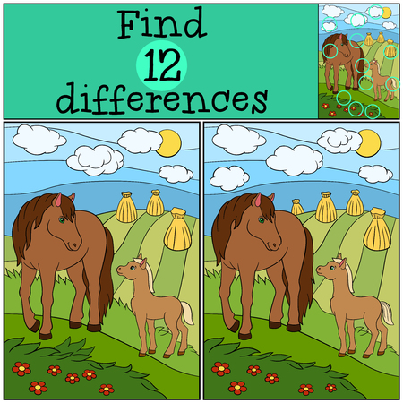 spot the difference: Children games: Find differences. Mother horse with her little cute foal.