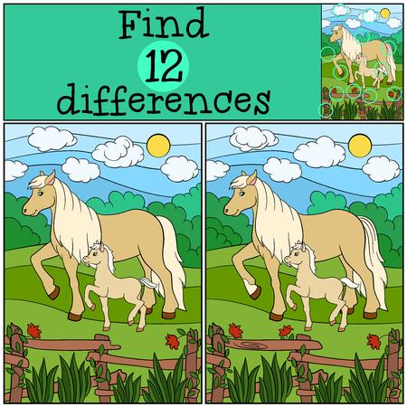 Kinderspelen: Zoek de verschillen. Moeder paard met haar kleine schattige veulen. Stock Illustratie