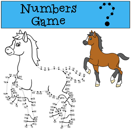 foal: Educational games: Numbers game with contour. Little cute foal smiles. Illustration