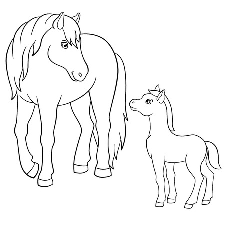 foal: Coloring pages. Farm animals. Mother horse with her little cute foal.
