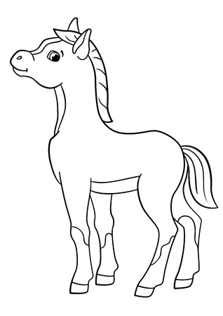 foal: Coloring pages. Farm animals. Little cute foal smiles.