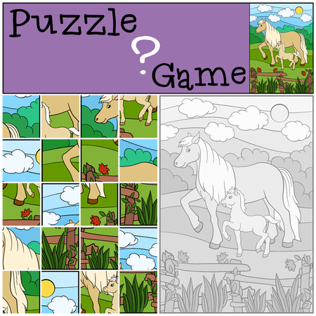 foal: Education games for kids. Puzzle. Mother horse with her little cute foal.