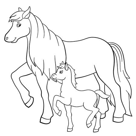 Disegni da colorare. Animali da fattoria. Madre cavallo cammina con il suo piccolo puledro carino. Vettoriali