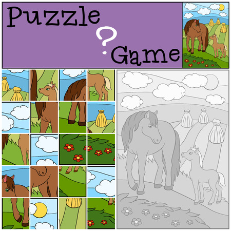 preliminary: Education games for kids. Puzzle. Mother horse with her little cute foal.