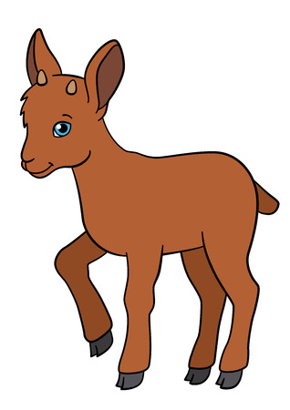 capra: Cartoon animals. Little cute baby ibex stands and smiles.