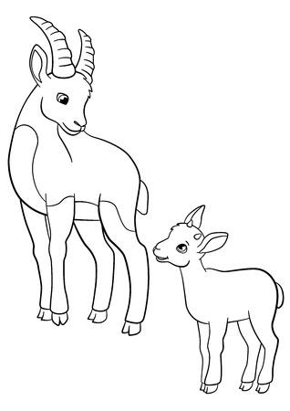 Páginas Para Colorear. Madre Con Su Pequeño Ibex Ibex Lindo Del Bebé ...