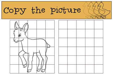 Juego educativo: Copiar la imagen. Pequeños puestos ibex bebé lindo y sonrisas.