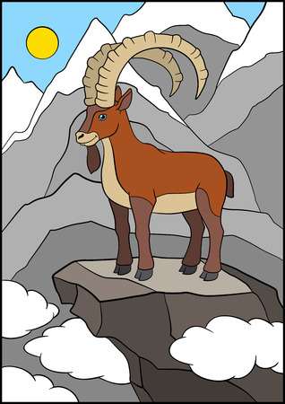 capra: Cartoon animals. Cute beautiful ibex stands on the rock.