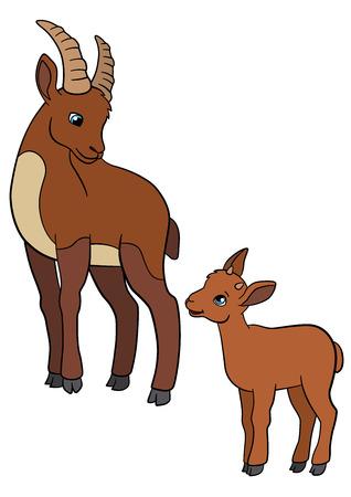 capra: Cartoon animals. Mother ibex with her little cute baby ibex.