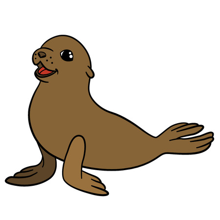 fur seal: Cartoon animals. Little cute brown baby fur seal smiles. Illustration