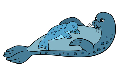 fur seal: Cartoon animals. Mother fur seal with her sleeping little cute baby. Illustration