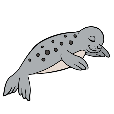 baby seal: Cartoon animals. Little cute spotted baby seal sleeps.
