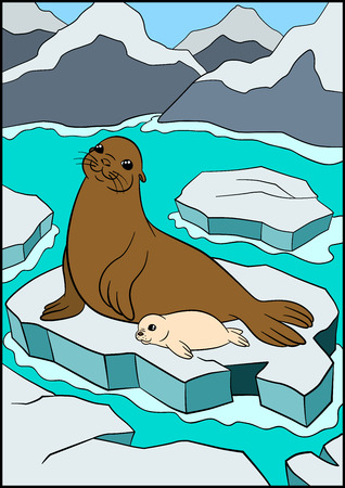 fur seal: Cartoon animals. Mother fur seal with her little cute white-coat baby on the ice floe in the ocean.