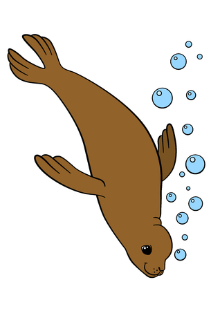 fur seal: Cartoon animals. Little cute brown fur seal swims and smiles. Illustration