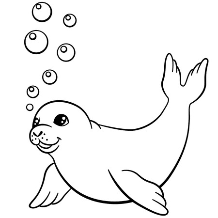 Kleurplaten. Kleine schattige baby zeehond zwemt en glimlacht. Vector Illustratie