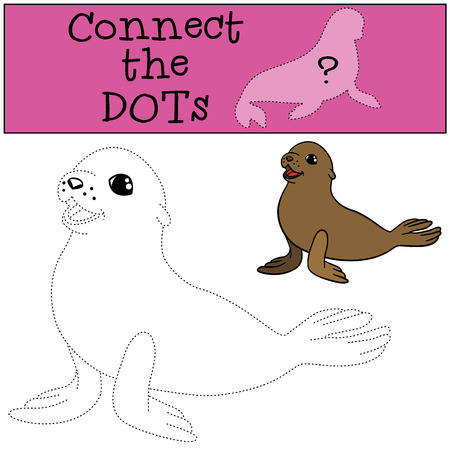 fur seal: Educational game: Connect the dots. Little cute baby fur seal smiles.