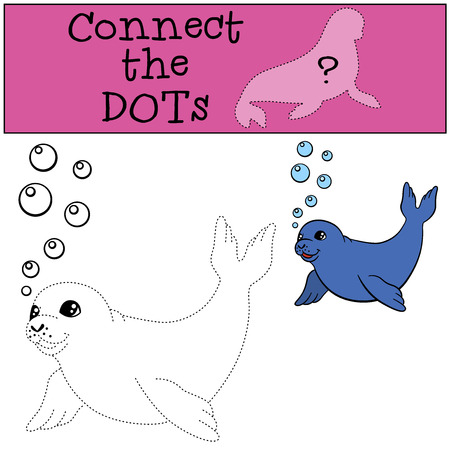 baby seal: Educational game: Connect the dots. Little cute baby seal swims and smiles.