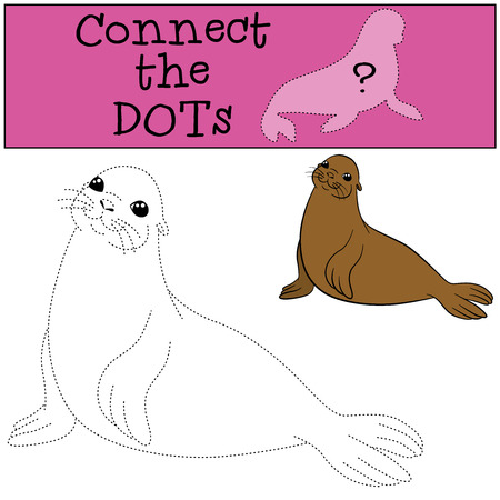 fur seal: Educational game: Connect the dots. Little cute fur seal smiles.
