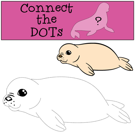 fur seal: Educational game: Connect the dots. Little cute white-coated baby fur seal smiles. Illustration