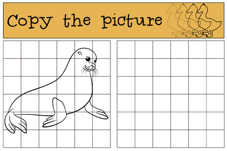fur seal: Educational game: Copy the picture. Little cute fur seal smiles. Illustration