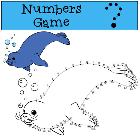 fur seal: Educational game: Numbers game with contour. Little cute fur seal swims and smiles. Illustration